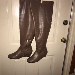 Vegan Leather Taupe Over the knee boots